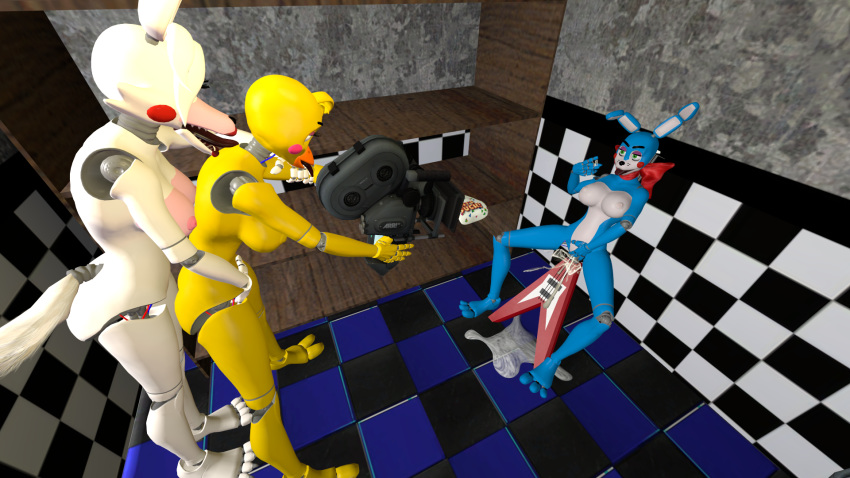 foxy toy chica fnaf and Anime girl playing video games gif